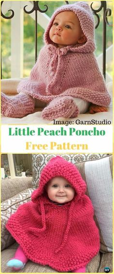 Knit Little Peach Poncho Free Pattern - Knit Baby Sweater Outwear Free Patterns