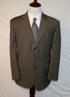 STAFFORD Mens 43 R 100% Wool Brown / Grey 3 Button Sport Coat Blazer #Stafford #TheSmartShoppe