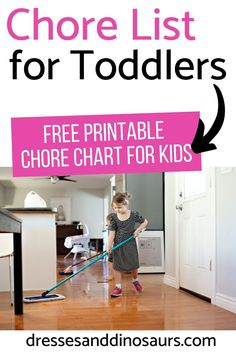 It is great for kids to learn responsibility, even as toddlers. A perfect way to do that is by giving them chores. If you aren't sure what a toddler can handle, check out this list of chores for toddlers and grab your free printable chore chart! Toddler Chores, Toddler Schedule, Toddler Activities, Toddler Learning, Family Activities, Learning Activities, Free Printable Chore Charts, Chore Chart Kids, Parenting Toddlers
