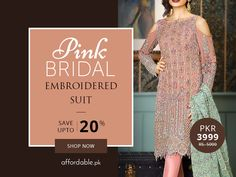 Atan: Pink Bridal Embroidered Suit