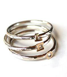 Stacking initial rings - I love this. I want one with each of my kids and my husband's initials.