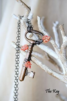 Fiery Orange Fall Leaves Necklaces Antique Skeleton Key by TheKey