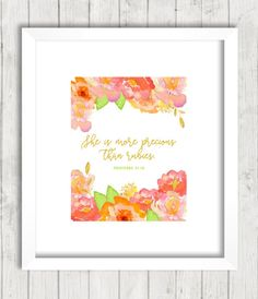 Proverbs 31:10 Print She is More Precious by FourthAvePenandInk