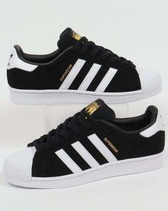 Adidas Originals - Adidas Superstar Suede Trainers in Black & White - shell toe in Clothes, Shoes & Accessories, Men's Shoes, Trainers Adidas Shoes Women, Adidas Sneakers, Black Adidas Shoes, Black Adidas Trainers, Gold Adidas, Jordan Sneakers, Basket Adidas Superstar, Adidas Superstar Shoes