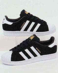 Adidas Originals - Adidas Superstar Suede Trainers in Black Black Adidas  Trainers, Adidas Superstar Shoes 59eb591f4d1f