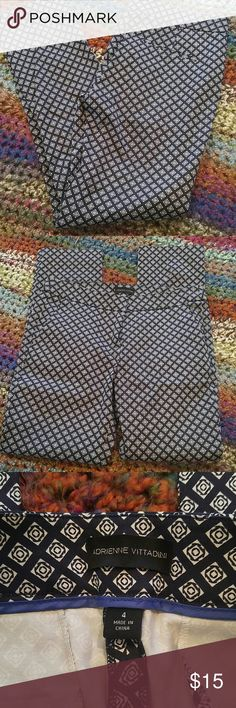 Adrienne Vittadini print pant Size 4, Adrienne Vittadini printed pant. Straight leg. Two pockets at the hip and two small pockets in back, still sewed shut.  Background color is either black or dark navy blue, my eyes have a hard time with this distinction lol. EUC Adrienne Vittadini Pants