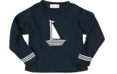 boat sweater navy white