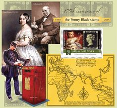 Post stamp Maldives MLD b anniversary of the Penny Black (Queen Victoria as a child, Penny Black, Penny Black, Queen Victoria, Maldives, Postage Stamps, Anniversary, Miniatures, Baseball Cards, Movie Posters, Black Queen