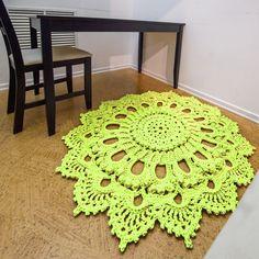 "Crochet rug, carpet crochet, light green doily rug, yarn lace mat, cottage nursery carpet, rustic floor decor by LaceMats ""LaceBallerina"""