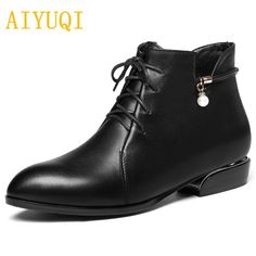 35515a74f433 Ksyoocur Back Zipper Black Ankle Boots For Women Warm Insole Women ...