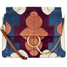 Chloé Medium Faye Flower Patch Shoulder Bag (7,415 ILS) ❤ liked on Polyvore featuring bags, handbags, shoulder bags, genuine leather handbags, leather shoulder bag, chloe shoulder bag, purple leather handbag and purple leather purse