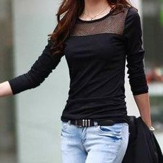 trendsgal.com - Trendsgal Jewel Neck Long Sleeves Solid Color Hollow Out T Shirt For Women - AdoreWe.com