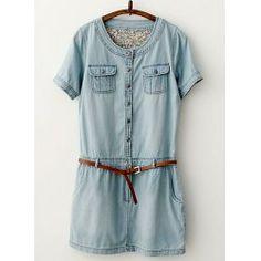 Pockets Design Short Sleeve Round Collar Solid Color Packet Buttock Denim Dress For Women