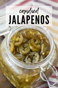 These homemade Candied Jalapenos are the perfect combination of spicy and sweet. Also known as Cowboy Candy, they're easy to make and oh-so delicious. They're perfect on top of BBQ, salads, sandwiches, and more! One bite and you'll be hooked! Jalapeno Relish, Stuffed Jalapeno Peppers, Pepper Relish, Cowboy Candy, Candied Jalapenos, Jalapeno Recipes, Pepper Jelly Recipes, Bbq Salads, Homemade Pickles