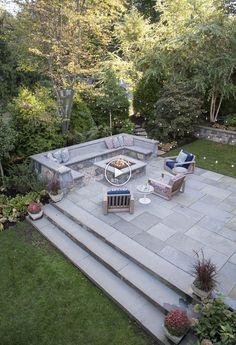 Stone Patio Designs, Concrete Patio Designs, Backyard Patio Designs, Backyard Landscaping, Paver Designs, Backyard Ideas, Backyard Seating, Fire Pit Backyard, Patio Steps