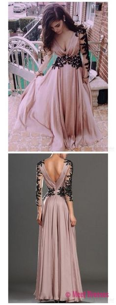 Blush Pink Prom Dresses,Vintage Prom Gown,Women Boho Long Sleeves Plus Size Evening Gowns,V neckline Party Dress,Black Lace Evening Dress PD20187176