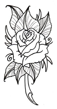 Neo Traditional Rose Outline by vikingtattoo.deviantart.com on @DeviantArt
