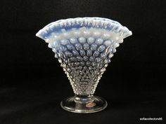 Fenton 3957 French Opalescent Hobnail Fan Vase with Label - Vintage 1950s Fenton Glass by soflacollectors86 on Etsy