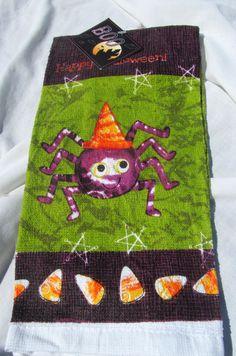 Candy Corn Spider Witch Hat Country Primitive Halloween Kitchen Hand Towel  #Halloween
