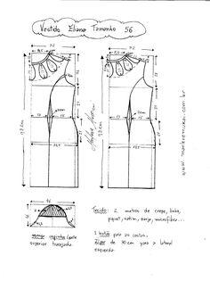Esquema de Modelagem de Vestido Eliana tamanho  56.