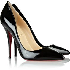 Christian Louboutin Batignolles 120 patent-leather pumps (€540) ❤ liked on Polyvore featuring shoes, pumps, heels, sapatos, christian louboutin, high heels, black, christian louboutin pumps, patent leather pumps and black patent pumps