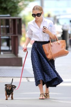 mary-kate olsen is a full skirt and white shirt   never underdressed