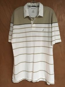 Nautica Mens Golf Polo Shirt Size XL Attached Tag Off White Beige Short Sleeve | eBay