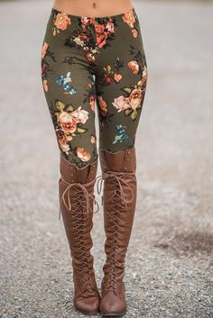 Gorgeous Fall Florals Make For the Perfect Olive Legging. These super soft and stretchy leggings are a must have for fall. With gorgeous rich fall colors. $37