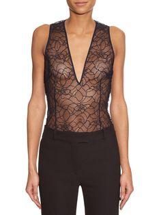 V-neck French-lace bodysuit | La Mania | MATCHESFASHION.COM US