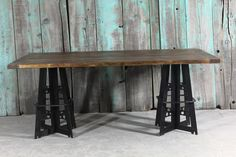Reclaimed wood and iron table