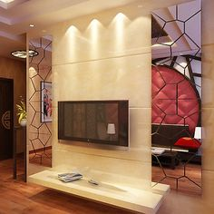 Removable-7Pcs-Moire-Pattern-Mirror-Decal-Art-Mural-Wall-Sticker-Home-Decors-NEW