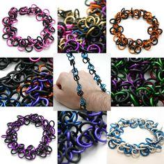 Custom Color Shaggy Loops Chainmail Bracelet. $15.00, via Etsy.