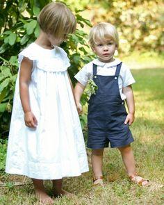 Summery outfits for flower girl and ring bearer. {Martha Stewart Weddings}