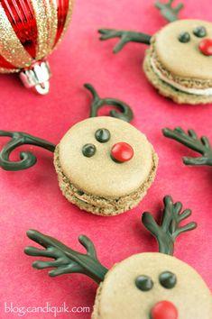 Chocolate French Reindeer Macarons