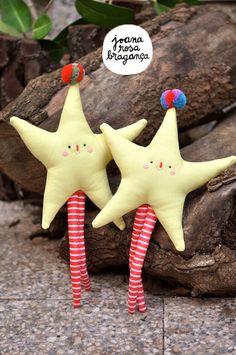 PomPom STARS - Medium - handmade Christmas dolls - Winter.