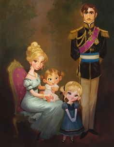 Frozen (2013) concept art of the royal family, by Cory Loftis Scan from The Art of Frozen