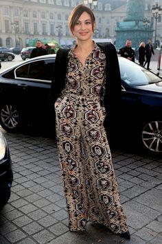 Olga Kurylenko paired her statement jumpsuit with a classic black blazer.