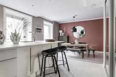 Home Decorators Collection Vanity Mauve Walls, Pink Walls, Murs Roses, Paint Colors For Living Room, Dining Room Walls, Contemporary Interior Design, Diy Bedroom Decor, Home Decor, Beautiful Interiors