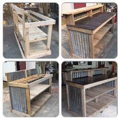 Cash wrap from beginning to end using pallets and salvaged tin. Adaptable design and material resources. Great potential as a Work At Home Idea. Retail Counter, Store Counter, Restaurant Counter, Bar Counter, Backyard Bar, Patio Bar, Porch Bar, Diy Home Bar, Bars For Home