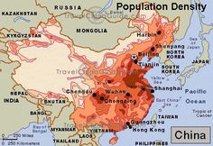 Population density in China
