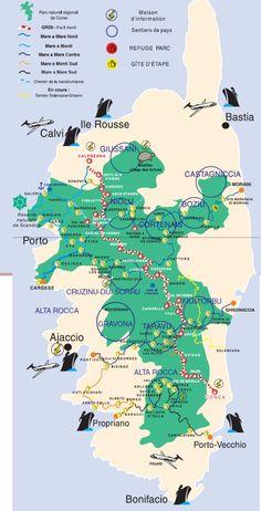 Carte Corse GR20 et parcs, zones d'intérêt