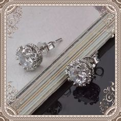Pretty stud earrings 4 available CZ studs with 925 sterling silver Jewelry Earrings