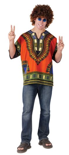 #118384 Ramble on this Halloween in our Dashiki Hippie Shirt!! Perfect for your ultimate costume to becoming a hippie! Shirt comes with Dashiki logo authentic T-Shirt. Includes: - Authentic Shirt Size