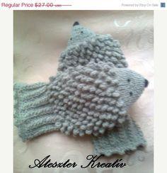 Hand Knit Hedgehog Mittens