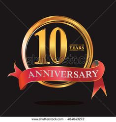 10 years anniversary golden logo with ring and soft red ribbon