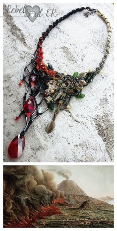 Pompeii jewelry dramatic necklace beaded lava neck by RebelSoulEK