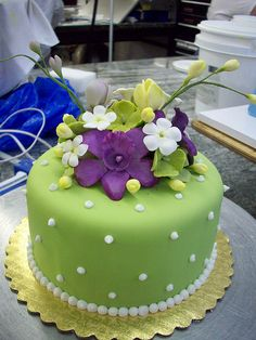 Pretty Green and White  Cake with Purple Orchids