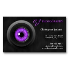Photography Camera Lens Amethyst Business Card