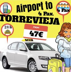 ALICANTE AIRPORT TO TORREVIEJA FOR 4 PAX. www.alicante-airporttransfers.com/  1-4 Pax. From 47€ 1-7 Pax. From 63€ 1-8 Pax. From 78€