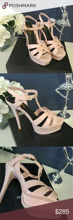 Ysl sandals size 39 fits 8_8.5 us size. High quality from china distributor 100% as real. Top grade leather quality. Color pinkish blush. Brand new with box and dust bag and manufacture sale memo invoice. Free gift with all purchases😃 Shoes Sandals